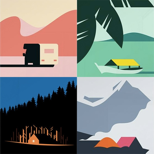 Hey Shop has some lovely abstracted travel posters - from the cabin in the woods to the basecamp tents to overlanding, tropical boats, and more!