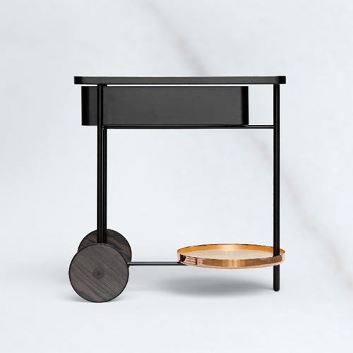 Copper, natural wood and marble invade FLOAT´s serving cart, the new trolley designed by MUT DESIGN for MIRAS EDITIONS.