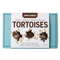John & Kira's Chocolate Tortoises - The set of twelve features six Maple Pecan and six Cinnamon Cashew Tortoises.