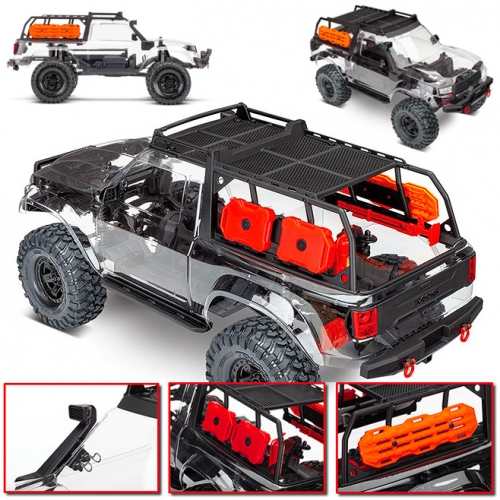 TRAXXAS TRX-4 Sport RC Crawler is adorable! Complete with expedition rack, Maxtrax styled traction boards, RotopaX styled gas cans, a snorkel and more... love the clear body (which can be painted) too!
