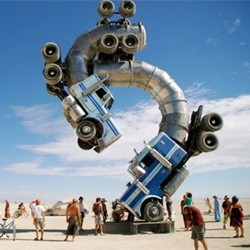 Creative sculpture designed by Mike Ross is built from two repurposed 18-wheeler tanker trucks.