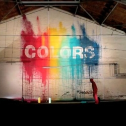 """True colors"" is a stop-motion video with painted walls and a cool music. That's not ""Blu"" but it definitively deserves your attention."