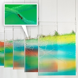 Brad Troemel Live/Work at the Tomorrow Gallery.  Beautiful suspended displays of infertile female harvester worker ants in dyed nutrient gel. Each one is on behalf of 3 not-for-profit organizations... the homes are the colors of the not-for-profits' logos.