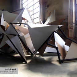 Martin Böttger aka TSA Works releases images of his sculpture Dark Biwak. Produced in 2007 as part of Böttger's final art school project, Dark Biwak is is made out of cardboard and wood at 5×12x6 meters.