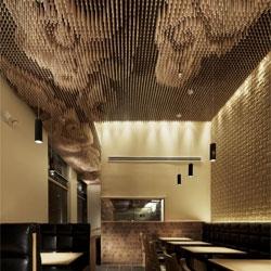 Takeshi Sano's ceiling design for the Tsujita restaurant in Los Angeles.