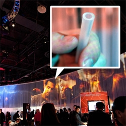 Motorola's CES booth is surrounded by tons of silicone tubing that served not only as a border people could pass through to get in and out of the booth but also a full projection surface.