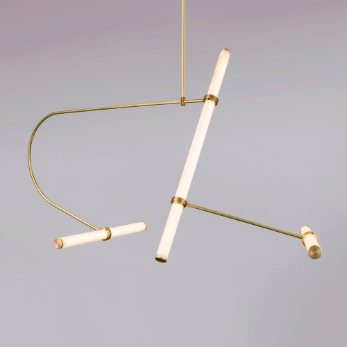 The Tube Pendant Collection by Naama Hofman is a modular system fabricated with LED – illuminated acrylic tubes and held together by brass rods and connected with threaded brass rings.