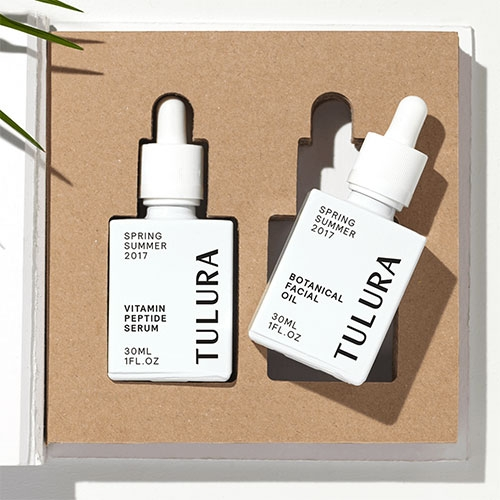 Tulura Facial Oil Duo. Nice packaging/branding, particularly the unique dropper bottle shape.