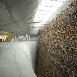 "The ""Wall of Knowledge."" A concept for a library in Stockholm, rendered by a group of students."