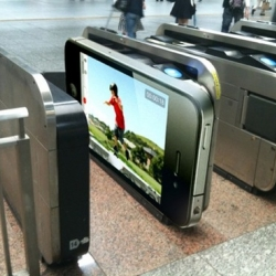 iPhone 4 advertising in the Tokyo subway. [Editor's note: So, apparently its probably a hoax, but still a cute idea]