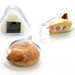 Switch Design created these glass food covers. Each was designed for a specific type of snack – onigiri (rice ball), shu cream (cream puff) and a slice of cake.