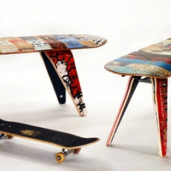 "New and improved 48"" Two Seater deckbench from DeckStool is expertly crafted from 100% reclaimed and recycled skateboards. Legs of the deckbench and deckstool attached to the long, popsicle-shaped seat with skateboard trucks."