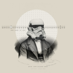 "Nick Agin is a graphic designer living and working in NYC. ""Old Timey Star Wars"" is a personal work that diverts the characters of Star Wars."