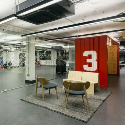 Internet giant Google will run this shared workplace for startup technology companies that interior designers Jump Studios have just completed in the area nicknamed Silicon Roundabout in Shoreditch, London.
