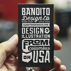 Process shots from the Mama's Sauce letterpress studio as they smushed up some cards for Bandito Design Co.