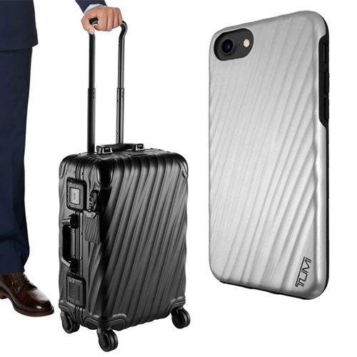 Tumi 19 Degree Collection - in aluminum and polycarbonate in black, silver, or copper. A hardshell luggage collection with ridges that seem hand carved, or twisted... complete with matching luggage tag and iphone cases.