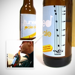 'Tuned Pale Ale' by Matt Braun and Chris Mufalli explores the musical affordances in everyday objects and promotes social spontaneity. Label on beer bottle lets you know which notes are made by blowing at certain levels when being consumed.