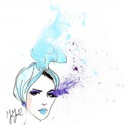 Fashion illustration by Moaza Matar,  a UAE based interior designer and illustrator. Image illustration for: I heart turban crowns!