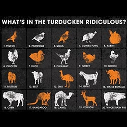The Turducken Ridiculous - 20 animals in one! Pigeon, Partridge, Quail, Guinea Fowl, Rabbit, Chicken, Duck, Pheasant, Turkey, Goose, Sheep, Cow, Emu, Goat, Water Buffalo, Oxen, Kangaroo, Camel, Deer, all in a Whole Baby Pig.
