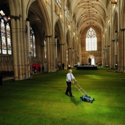 The nave of the 14th-century York Minster cathedral has been transformed by a 1,500 square meter 'living carpet' of grass on the occasion of the Queen's Jubilee.