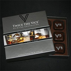 Twice The Vice Spirited Chocolates ~ the single malt collection includes The Macallan 12 Year, Glenlivet 15 Year, and Lagavulin 16 Year