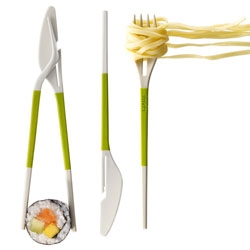 Lekue's Twin One. When cutlery collaborates. Knifes, forks and chopsticks all getting on famously.