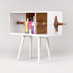 "Slovak Mejdstudio designers have put their own ""twist"" on the bookcase during the summer workshop 'lost and found' organized by CA flowers for slovakia in cooperation with Vitra."