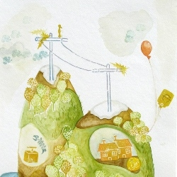 More from Amanda Jane Miller,  a painter and illustrator living in Charleston, WV.  Her work is whimsical and cute, yet insightful.
