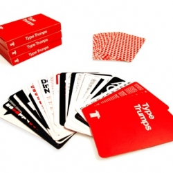 Type Trumps, a play on Top Trumps, is a game in which differnt typefaces are attributed numerical values. These figures are then used to enable the cards to be won or lost using some of the tried & tested 'Top Trumps' rules.