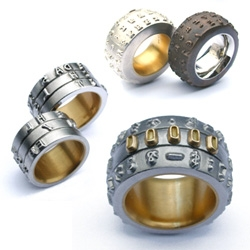 Typewriter balls as rings... in Courier 10, Touch Type, and Privy Seal. By Eve