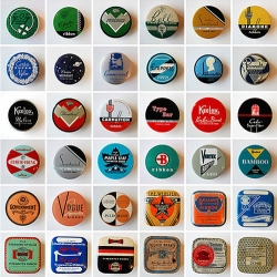 Beautiful collection of vintage typewriter ribbon tins! I love seeing graphic design work from this era.