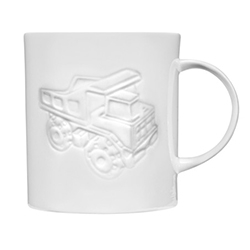 Tom Dixon Bone China Truck Mug - A fine bone china mug in pure white with a glazed finish, developed working with the manufacturing heritage of the Stoke on Trent Potteries.