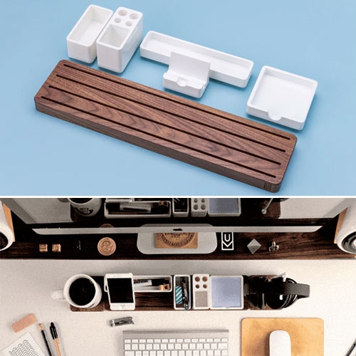 Gather: The minimal, modular organizer that cuts clutter by Jeff Sheldon (Ugmonk) Made of wood and polished white thermoplastic. Magnets in the bases allow you to attach more pieces, and you can also combine two sets for even more configs.