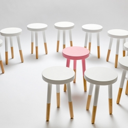 The Milking Stool by François Chambard from UM Project. A friendly nod to a universal design with a sleek finish and playful colors. Perfect as occasional seating or accent piece in any room of the house.