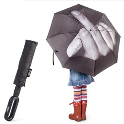 Fuck the Rain umbrella ~ art lebedev, even though it doesn't rain much here, i kind of want one... esp for walking next to tall office buildings? Automatic open/close + carabiner  handle