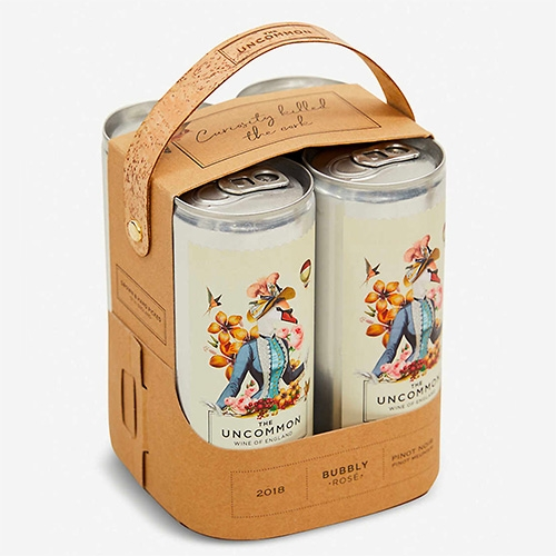 The Uncommon canned Bubbly Rose and Bubbly White Wines have cute 4 pack packaging exclusive to Selfridges with a fun cork handle.