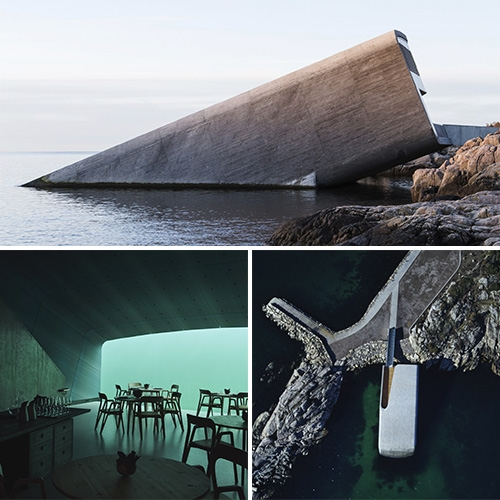 Under - the first underwater european restaurant just opened in Lindesnes, Norway. Designed by Snøhetta.