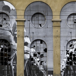 Parisian street-art photographer JR's Unframed, a collaboration with the Musée de l'Elysée and Festival Images, decorating facades of the Swiss city, Vevey, with giant reproductions of iconic works.