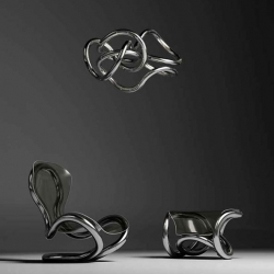 The Infinity furniture and lighting collection by Tangle Creations is based on the Tibetan Infinite Knot. Infinity design collection pieces entitled Art, Sky and Sun, the latter being a globular light fixture.