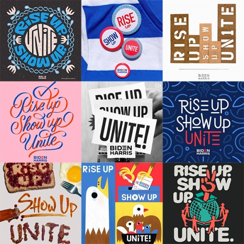 Rise Up. Show Up. Unite! Is a new campaign started by Jessica Hische and 20+ amazing artists. The instagram tag #RiseUpShowUpUnite is growing fast with lots of inspiring art.