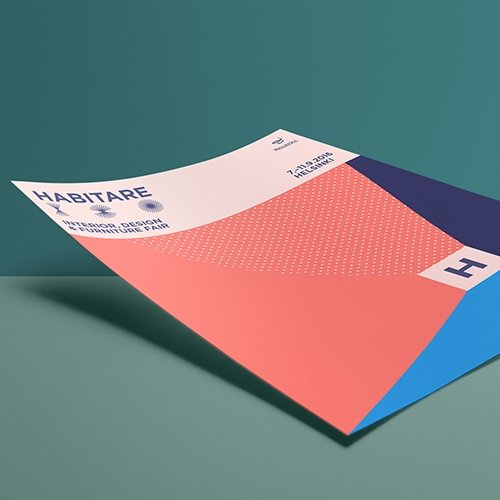 358 Helsinki's new identity for Habitare, the international furniture & interior design fair is based on a system that creates a new perspective & color scheme every time the centerpiece is scaled or moved.