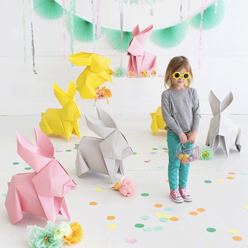 Oh Happy Day's DIY Giant Origami Bunnies! Fun idea for decor... and good inspiration to super size any other origami designs too!