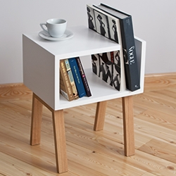 Uno, bedside table and bookshelf created by designers of the Russian studio Field & Rage.