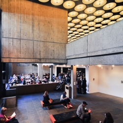 Untitled is the name of the cozy diner-style restaurant nestled within the Whitney Museum's modern, brutalist architecture.
