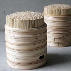 Steamer trays and wooden chopsticks are some of the most ubiquitous trash objects in China – and are thus the perfect candidates to upcycle into something useful and durable like this simple stool – by B.A.S.E