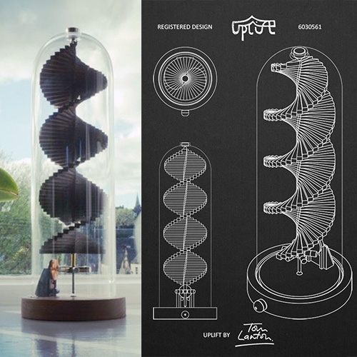 Uplift: A spiralling solar sculpture to soothe the soul by Tom Lawton. Powered by the sun, Uplift's relaxing motion creates a calm, never-ending spiral that's mesmerising to watch as it flows and you unwind. You can also interact with it using the magnetic wand...