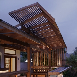 Oyler Wu Collaborative turned the backyard of this house in LA into a nice outside seating area.
