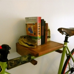 Urban City Bike Shelves, the perfect accessory for your home. All bike shelves handmade from either Cherry Wood or Walnut and finished with a natural wax.  Can be customized to fit.