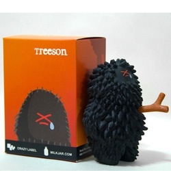 Poor Urban Treeson is a victim of urban pollution! and turns black... there's also a new one that ate a firefly which glows in its belly. Click to check out the stories behind the toys.