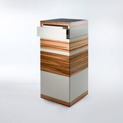 The Laptop Tower (LT) by german young label Ursula Maier is a standing desk for use at home, in offices or in public settings. The finely crafted piece is handsomely finished with a combination of veneer and paint in different styles.